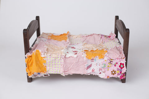 Orange & Pink Rag Quilt ~ Newborn photo prop