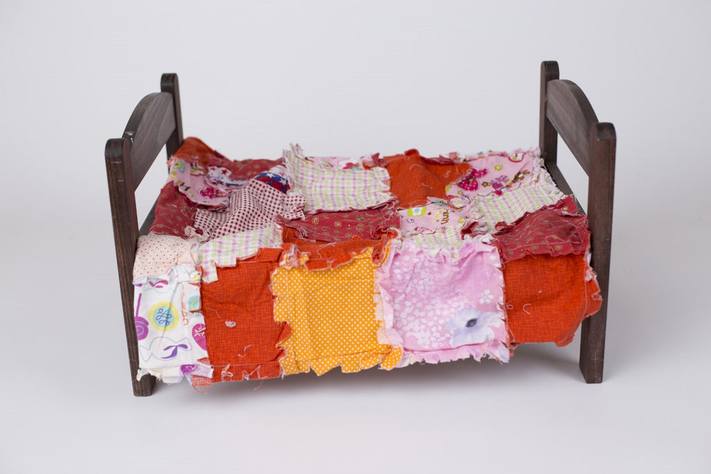 Bright pink, orange and red Rag Quilt ~ newborn photo prop