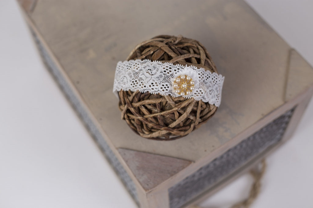 Jeweled Lace Headband ~ Newborn photo prop