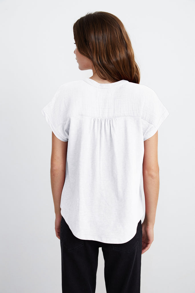 CARAH COTTON CONTRAST BLOUSE IN WHITE