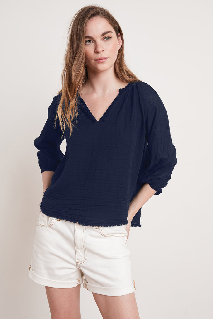 CATHY COTTON GAUZE TOP IN POSTMAN