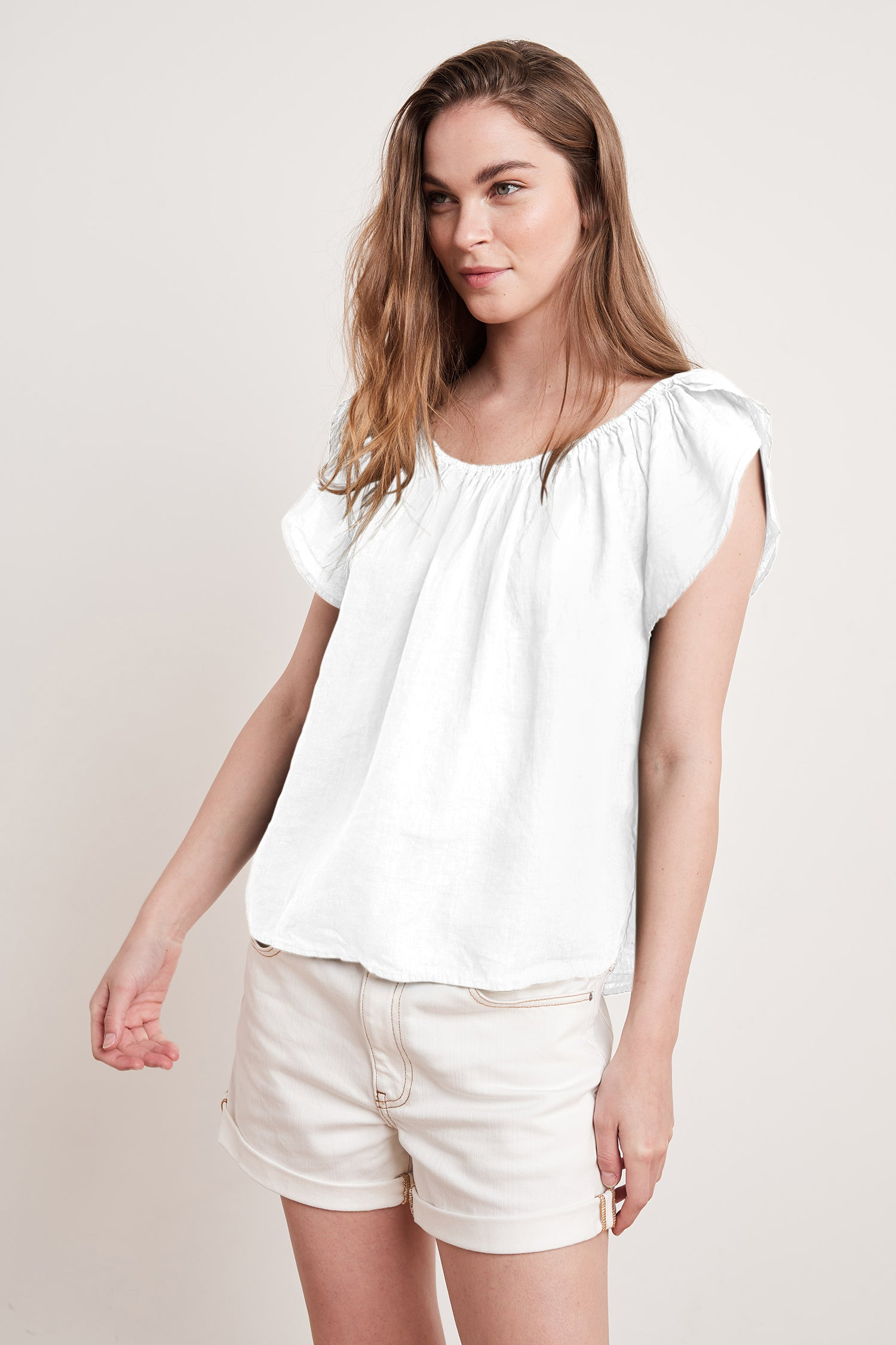 CEILA WOVEN LINEN TOP IN WHITE