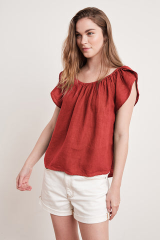 CEILA WOVEN LINEN TOP IN ROUGE
