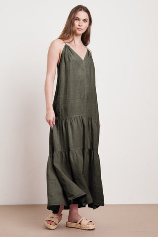 CLEO WOVEN LINEN DRESS IN ELM