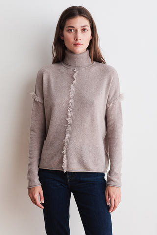 JAYDE CASHMERE BLEND TOP IN TAUPE