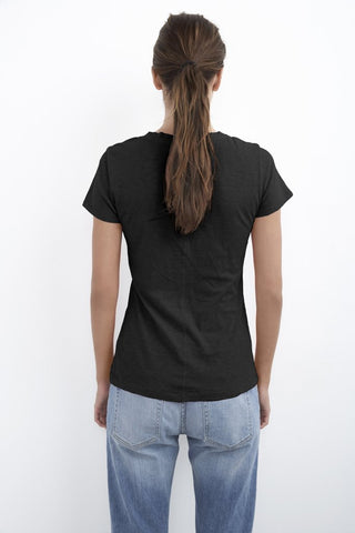 LILITH COTTON SLUB V-NECK TEE IN BLACK