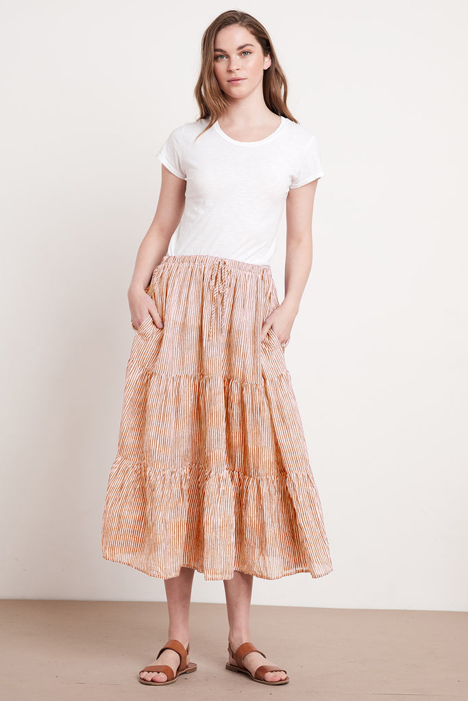 DINA PRINTED STRIPE SKIRT IN TAN/NATURAL