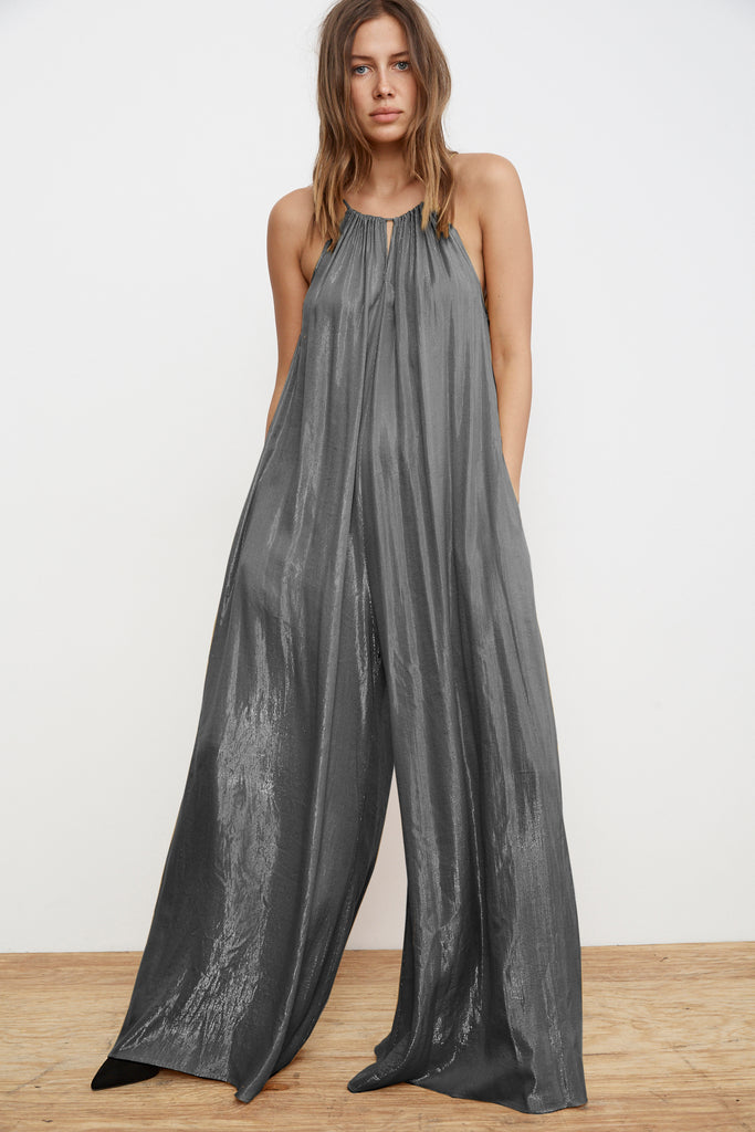 DIXIE SLEEVELESS LAMÉ JUMPSUIT IN GUNMETAL