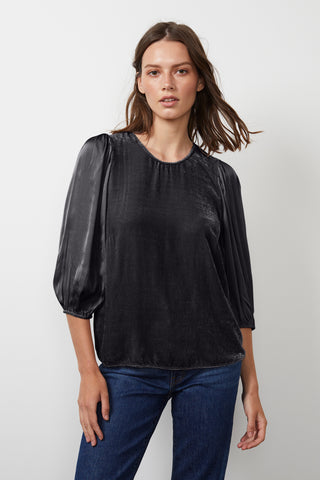ELISE SILK VELVET CONTRAST TOP IN BLACK