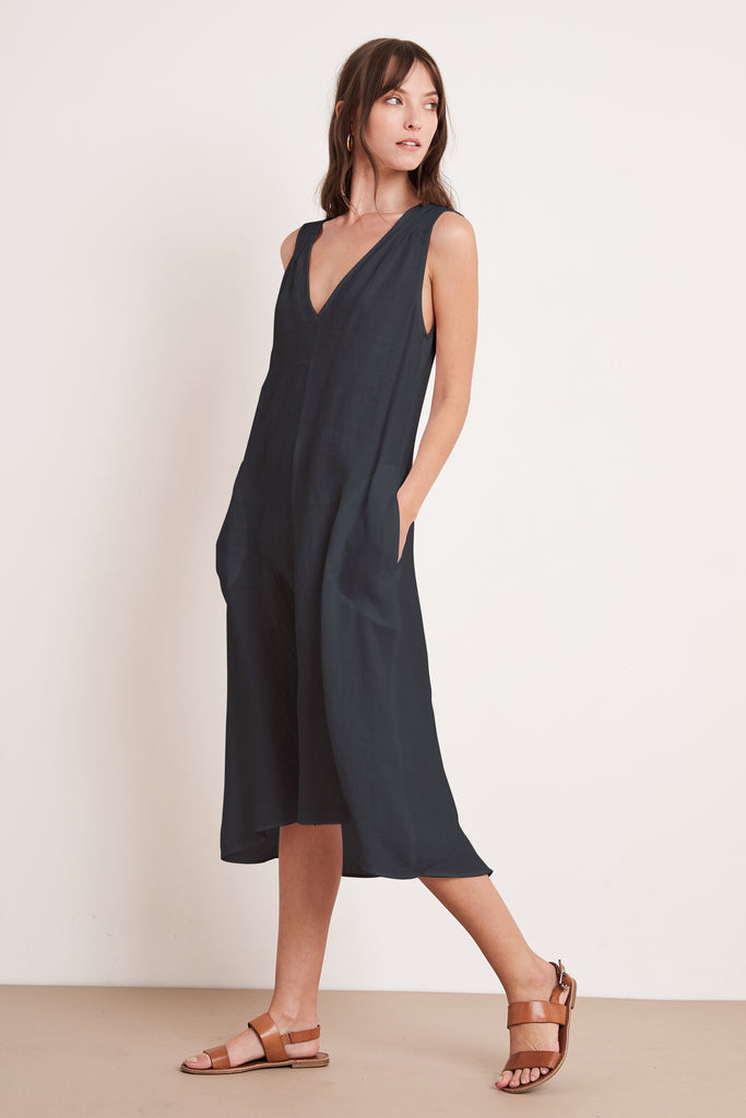 HARMONY WOVEN LINEN DRESS IN SHADOW