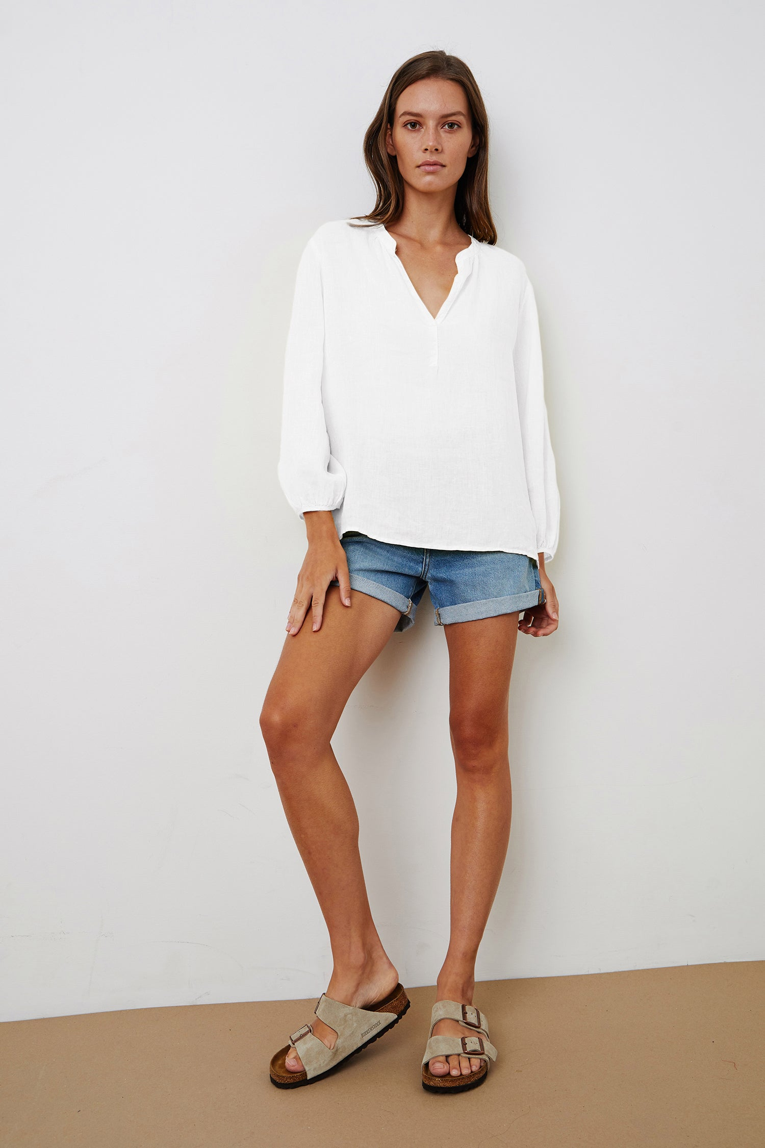 ILEANA LINEN BLOUSE IN WHITE