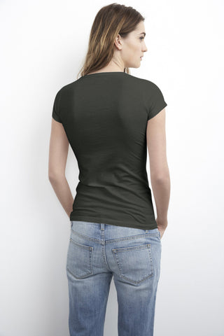 JEMMA GAUZY WHISPER CREW NECK TEE IN ELEPHANT