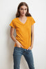 JILL SHORT SLEEVE V-NECK TEE IN AMBER