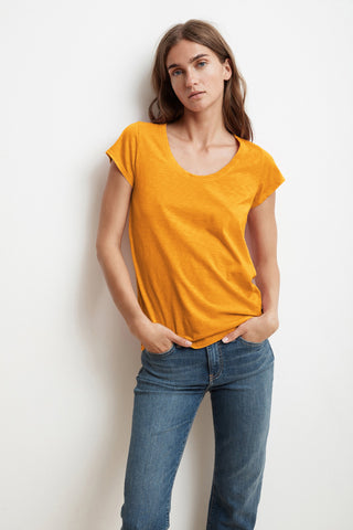 KATIE CITY COTTON SLUB T-SHIRT IN AMBER