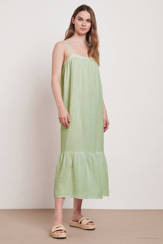 LILA COTTON GAUZE DRESS IN KIWI