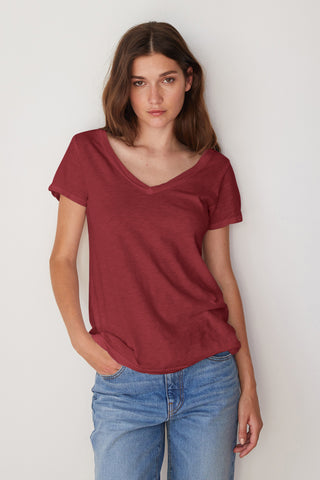 LILITH COTTON SLUB T-SHIRT IN CRIMSON