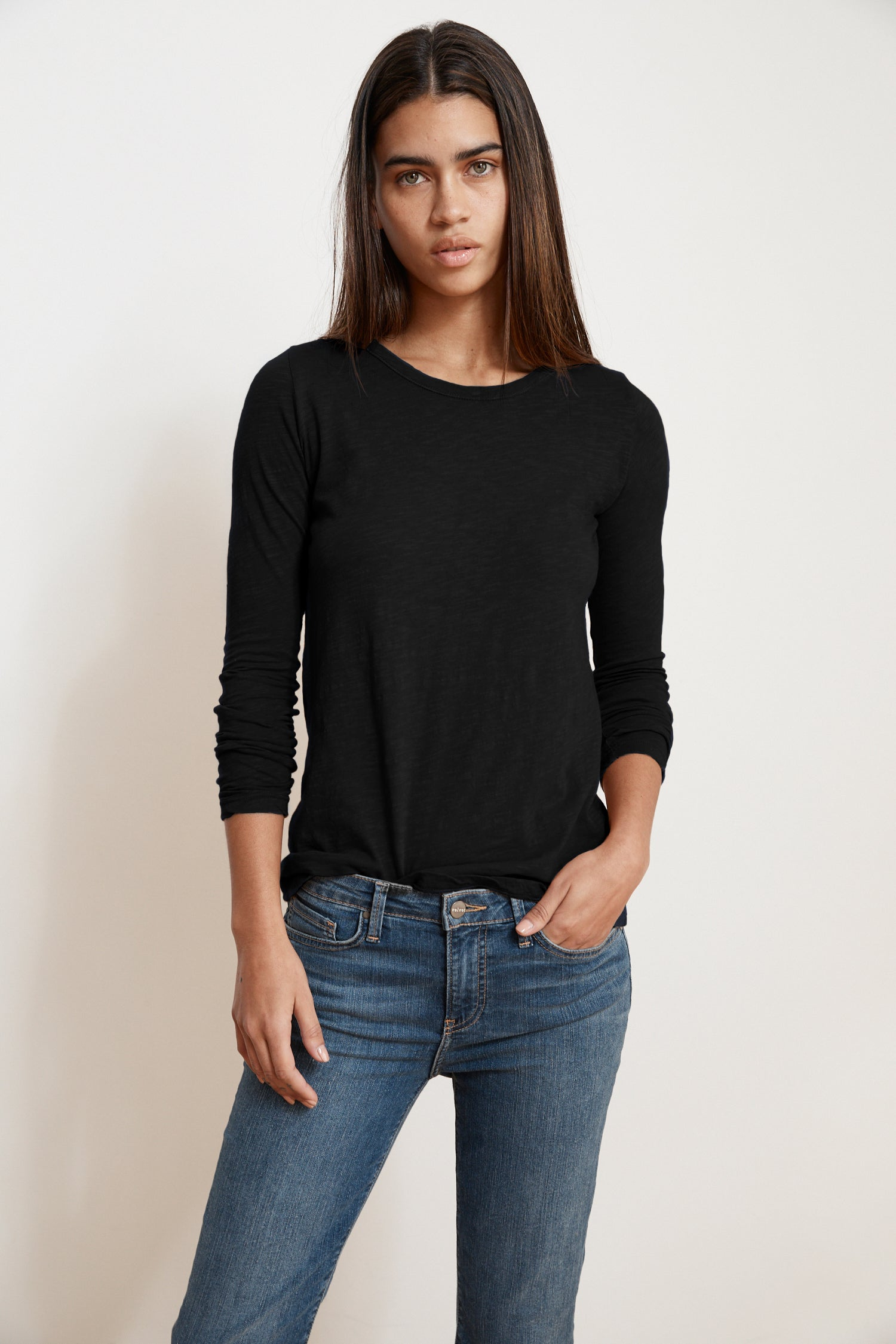 LIZZIE ORIGINAL SLUB LONG SLEEVE TEE IN BLACK