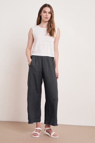 LOLA WOVEN LINEN PANT IN SHADOW
