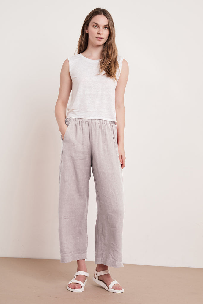 LOLA WOVEN LINEN PANT IN DOVE