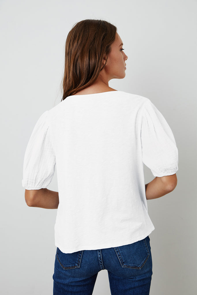 LOUISA PUFF SLEEVE TOP IN WHITE