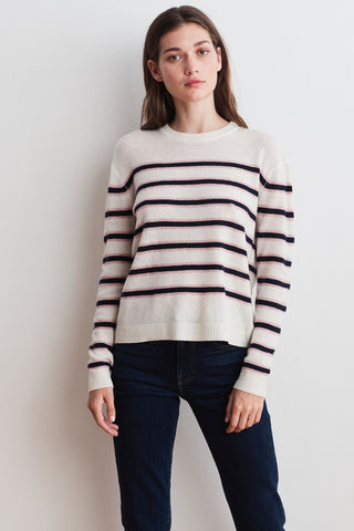 MARIE CASHMERE BLEND SWEATER IN MILK