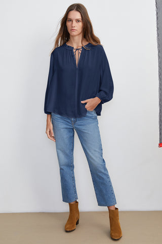 MARTY RAYON CHALLIS 4 SLEEVE BLOUSE IN POSTMAN