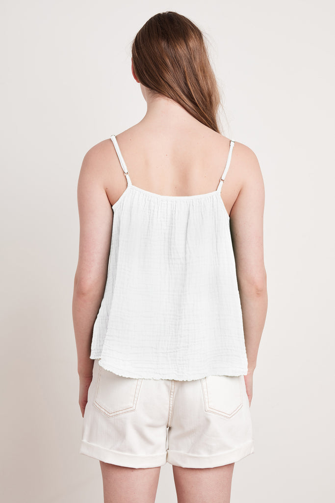 MARY COTTON GAUZE TOP IN WHITE