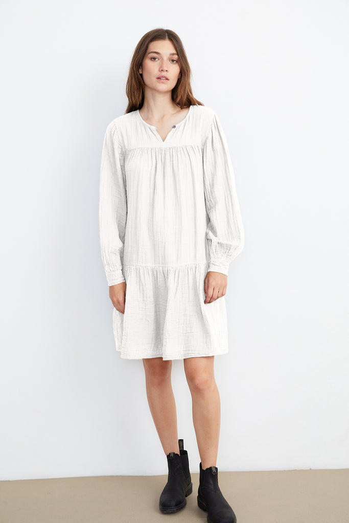 MILDRED COTTON GAUZE DRESS IN ECRU