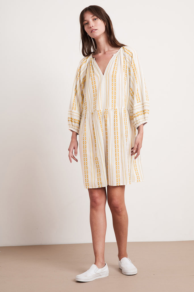 NONA STRIPE JACQUARD DRESS IN CUMIN
