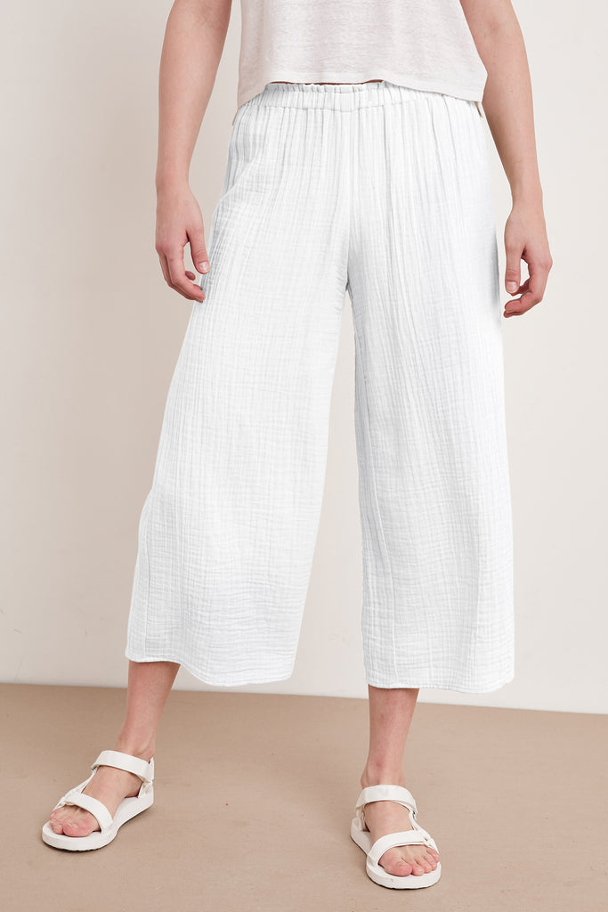 NYLEEN COTTON GAUZE PANT IN WHITE