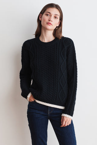 JOAN NOVELTY SWEATER IN BLACK/MILK