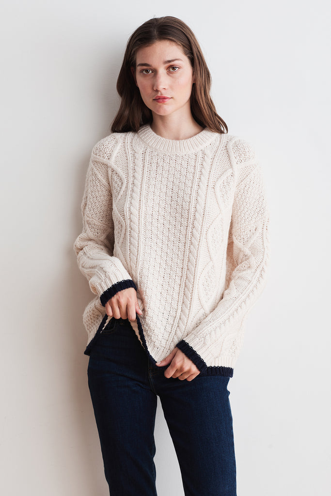 JOAN NOVELTY SWEATER IN MILK/NAVY