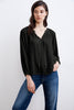 REBECCA VISCOSE SILK VELVET PEASANT TOP IN BLACK