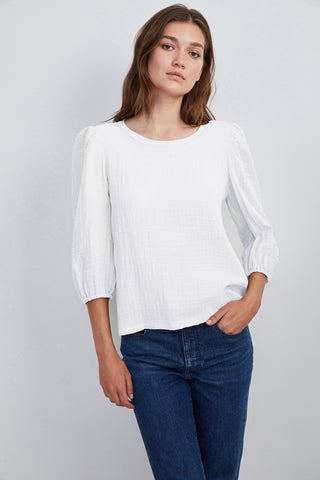 REEBA COTTON CONTRAST TOP IN WHITE