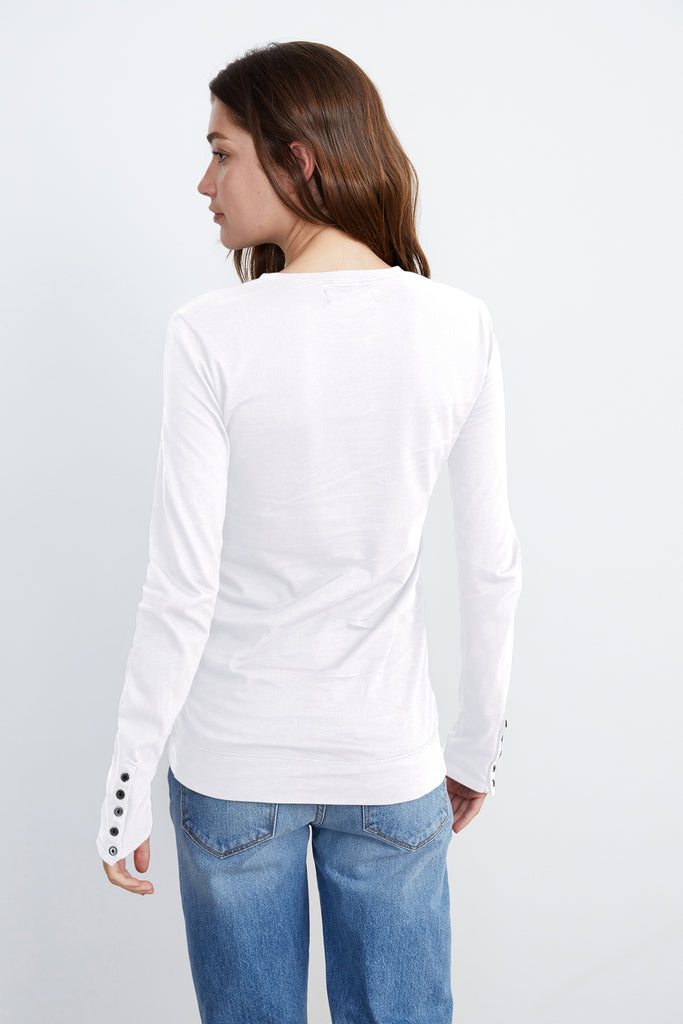 ROZALIA SUEDED JERSEY TEE IN WHITE
