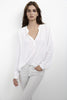 ROSIE-PLACKET CHALLIS BLOUSE IN WHITE