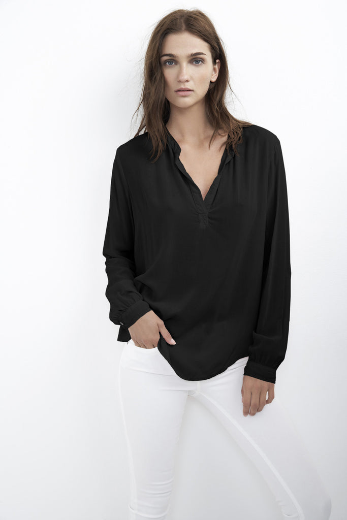 ROSIE HALF-PLACKET CHALLIS BLOUSE IN BLACK