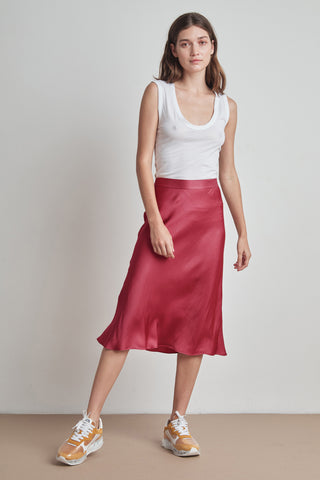 CALISSA SATIN VISCOSE MIDI SKIRT IN CHERRY