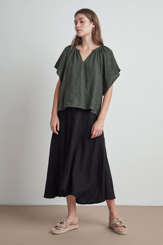 RALEIGH WOVEN LINEN SKIRT IN BLACK