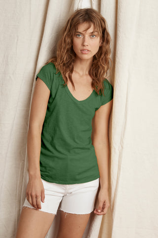 SUMETTE COTTON SLUB T-SHIRT IN IVY