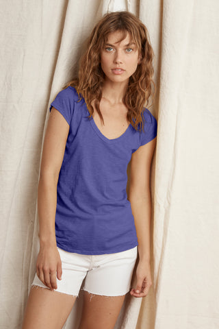 SUMETTE COTTON SLUB T-SHIRT IN BAYBERRY