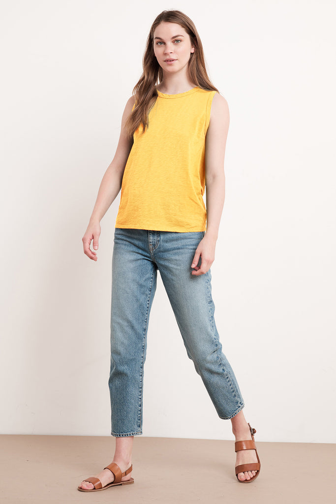 TAURUS COTTON SLUB TOP IN CANARY