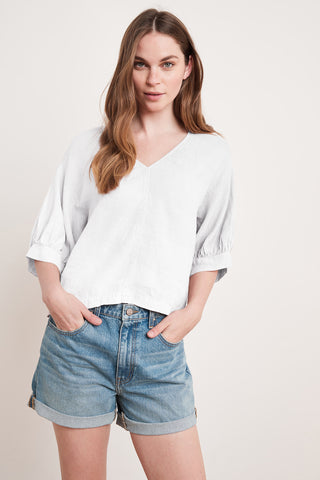 TAYLER WOVEN LINEN TOP IN WHITE