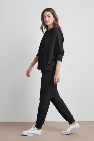 AUDRINA VISCOSE FLEECE JOGGER IN BLACK