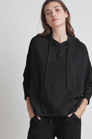 CRISTINA VISCOSE FLEECE HOODIE IN BLACK