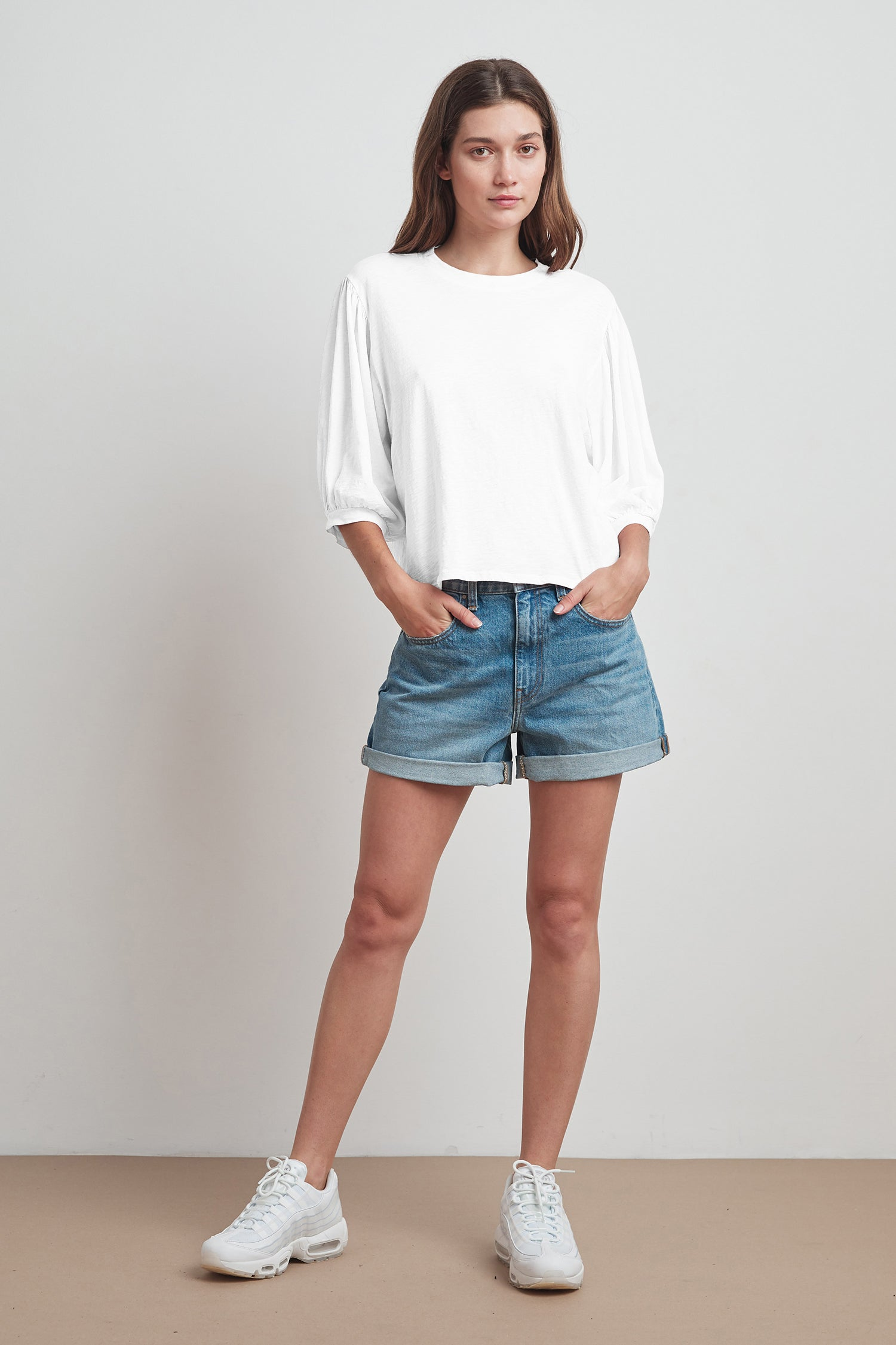 AMARA COTTON SLUB 3/4 SLEEVE TEE IN WHITE