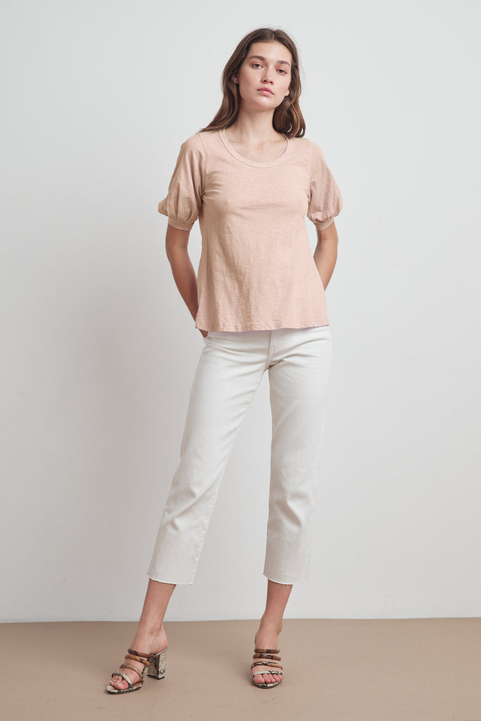 ANABELLE COTTON SLUB PUFF SLEEVE TEE IN SHELL