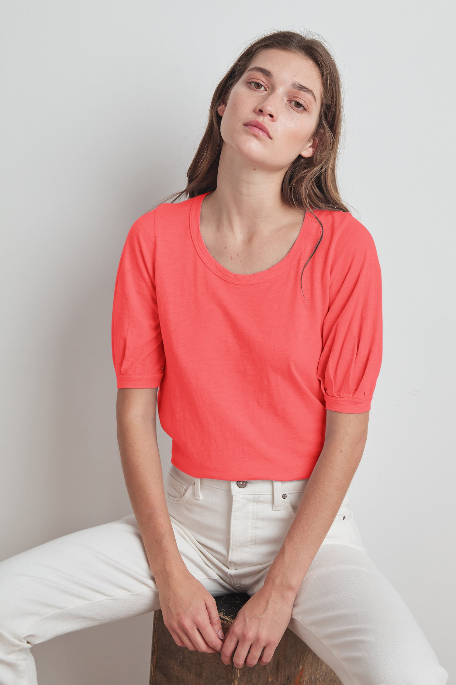 ANABELLE COTTON SLUB PUFF SLEEVE TEE IN BLOSSOM
