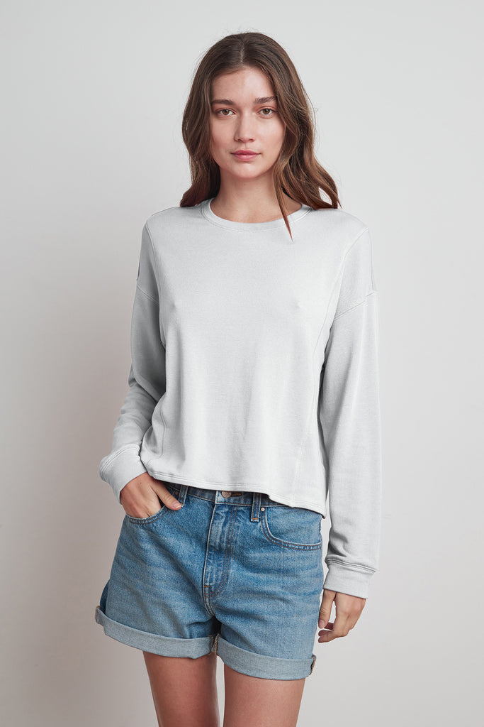 HALEY VISCOSE FLEECE SWEATSHIRT IN HEATHER GREY
