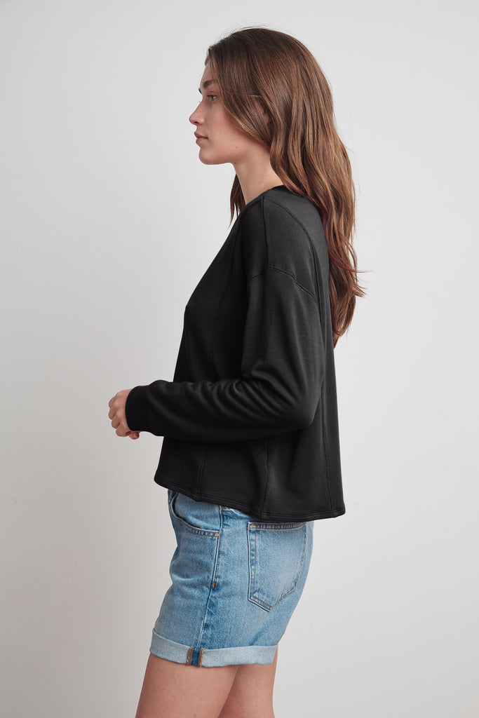 HALEY VISCOSE FLEECE SWEATSHIRT IN BLACK